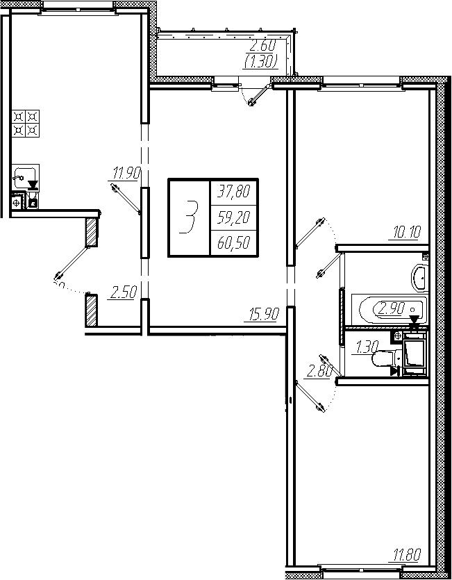 3-комнатная, 60.5 м²– 2