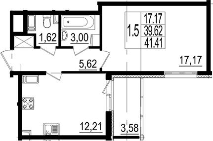 1-к.кв, 41.41 м²
