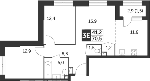3Е-комнатная, 70.5 м²– 2