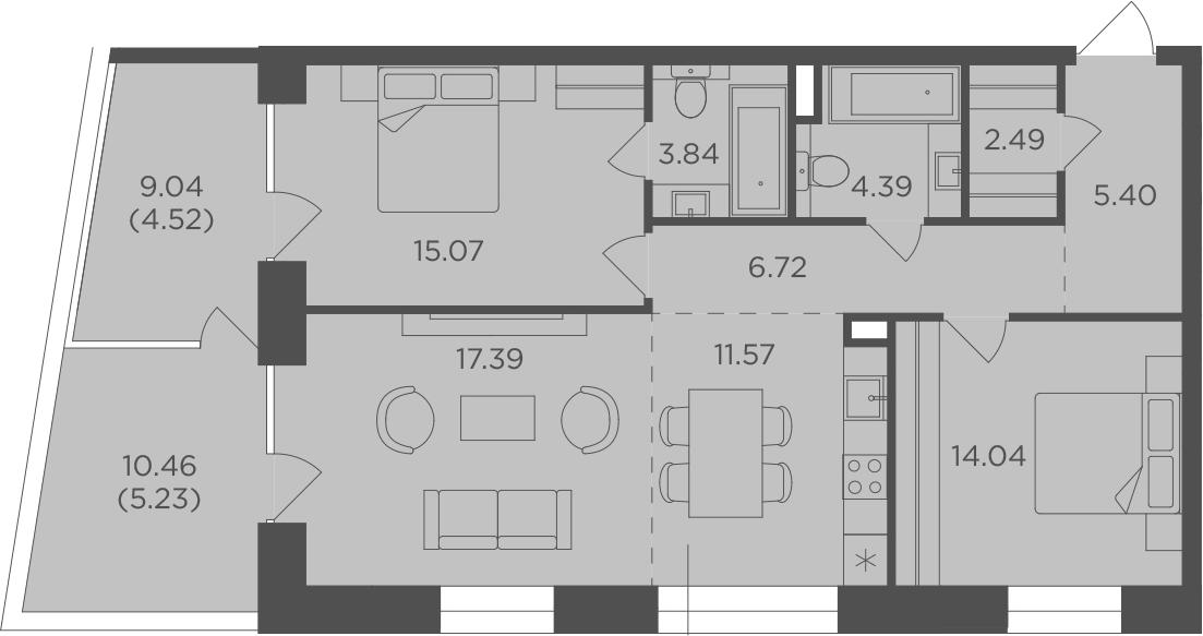 3Е-комнатная квартира, 90.66 м², 7 этаж – Планировка