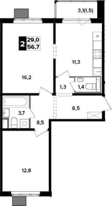 2-к.кв, 56.7 м², 13 этаж