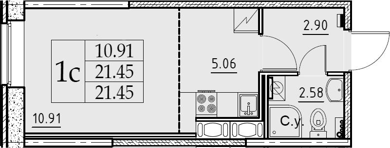 Студия, 21.45 м², 1 этаж