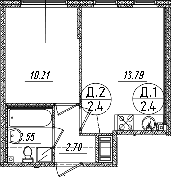 2Е-к.кв, 30.25 м²