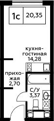 Студия, 20.35 м², 16 этаж