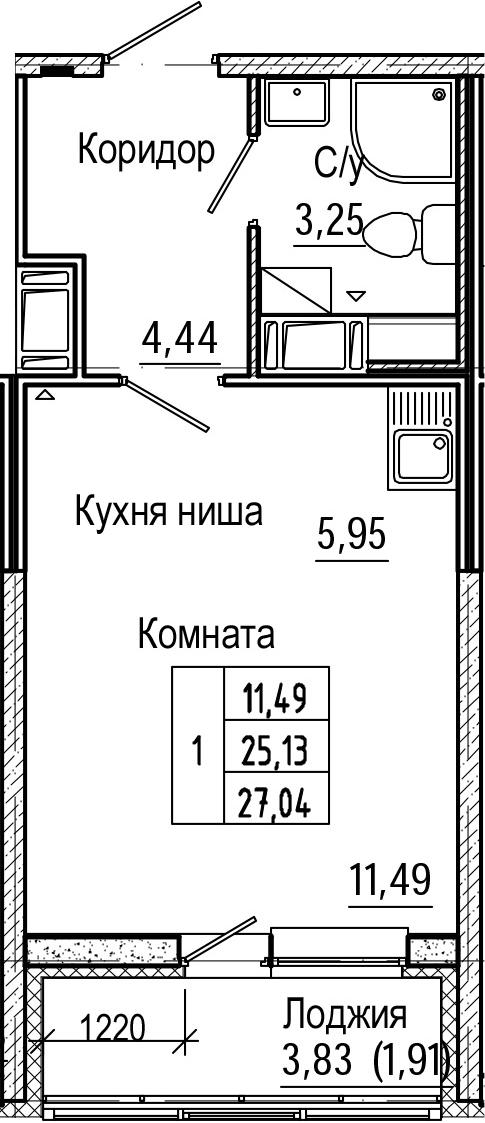 Студия, 27.04 м², 9 этаж