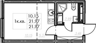 Студия, 21.97 м²– 2
