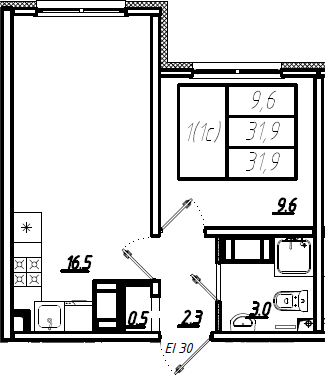 2Е-комнатная, 31.9 м²– 2