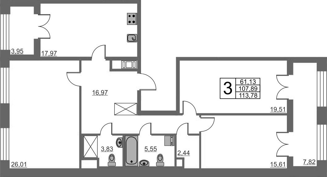 3-к.кв, 107.89 м²