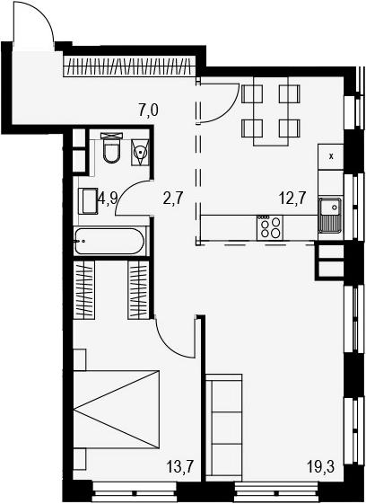 2-комнатная, 60.3 м²– 2