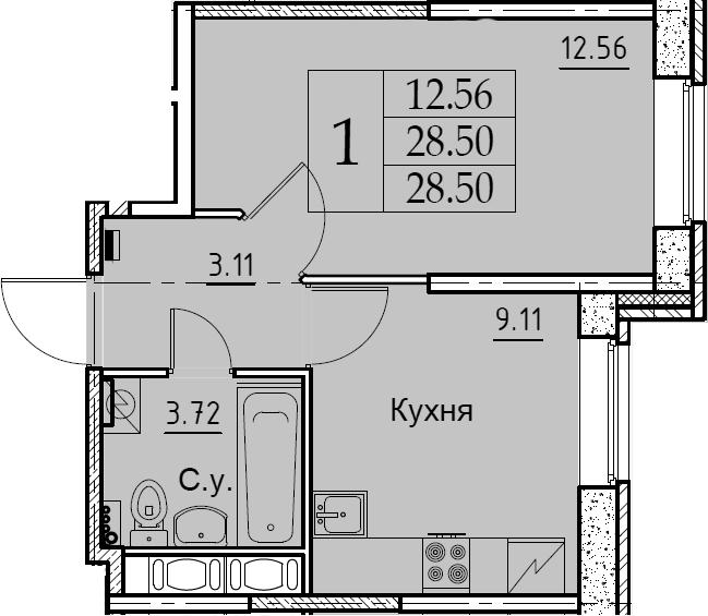 1-комнатная, 28.5 м²– 2