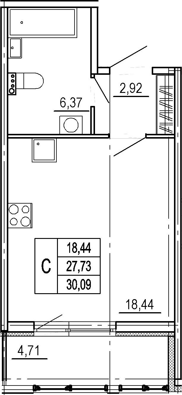 Студия, 27.73 м²– 2
