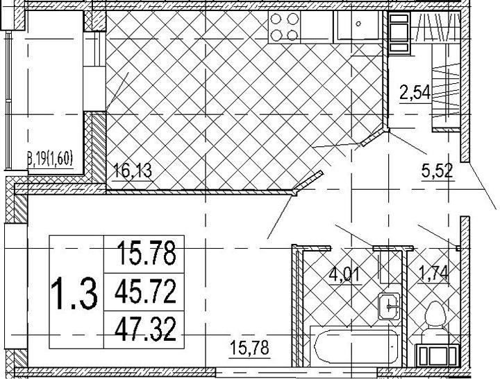 2-к.кв (евро), 48.92 м²