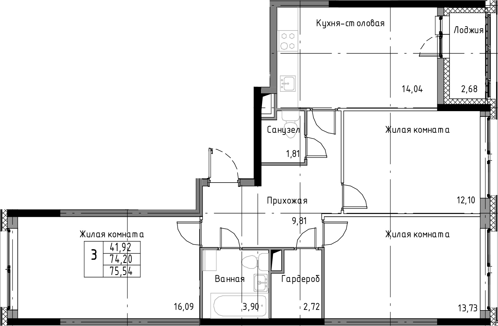3-к.кв, 75.54 м²
