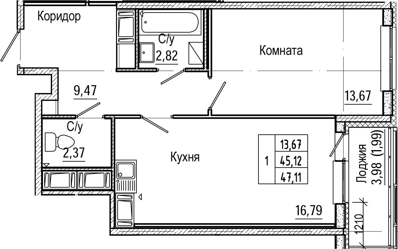 2Е-к.кв, 47.11 м², 21 этаж