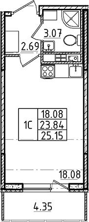 Студия, 23.84 м²– 2