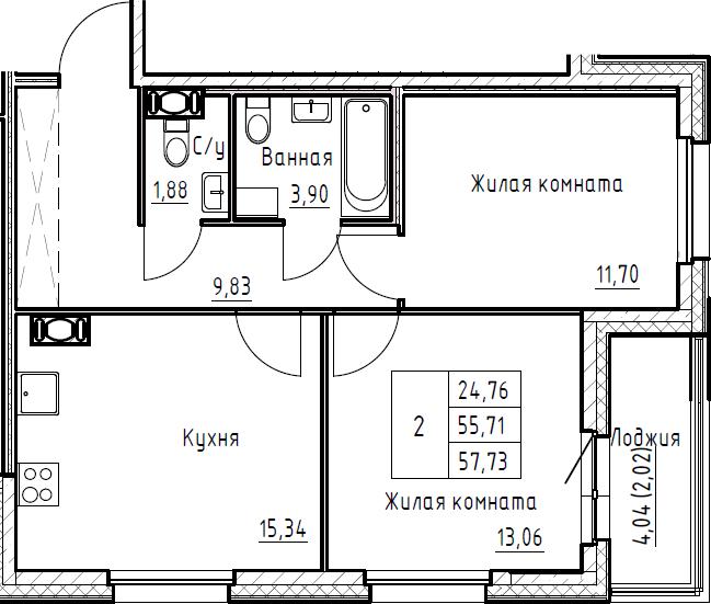 3Е-к.кв, 57.73 м², от 5 этажа
