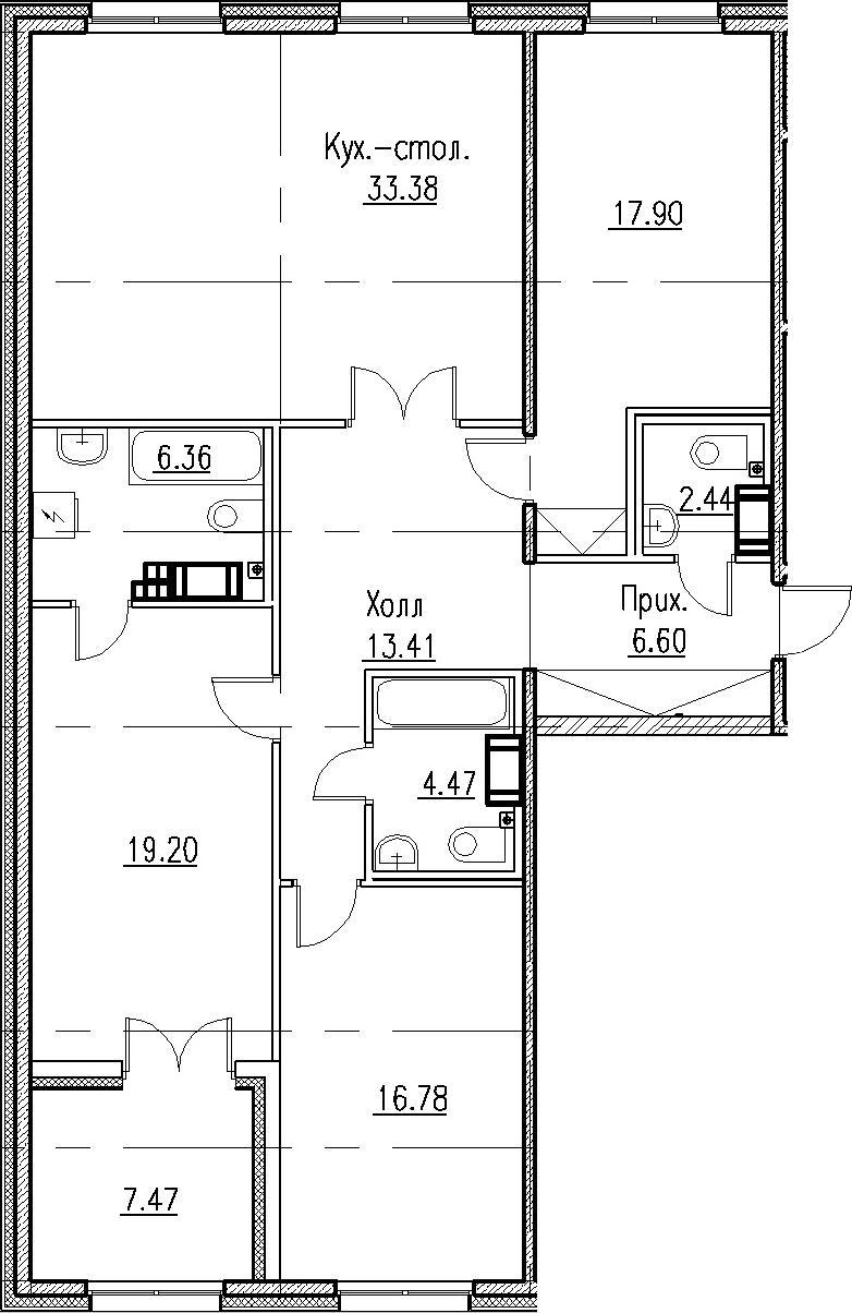4Е-к.кв, 120.54 м², от 4 этажа