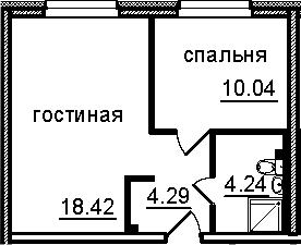 2Е-к.кв, 36.99 м², 3 этаж