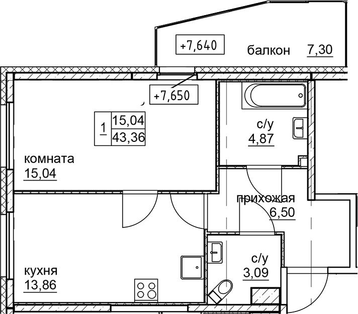 1-к.кв, 43.36 м²