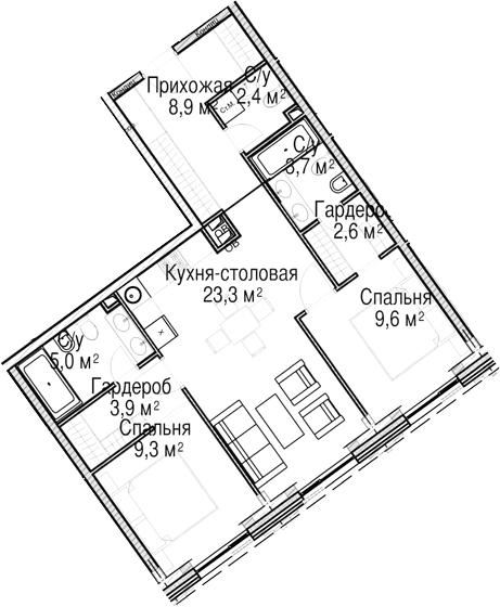 3-к.кв (евро), 68.7 м²