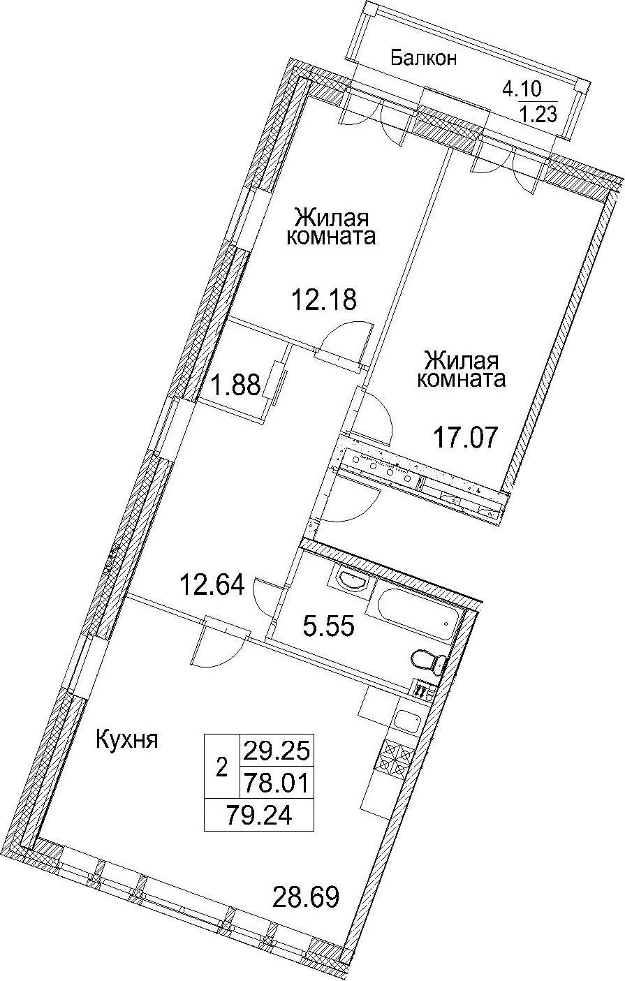 3-к.кв (евро), 82.11 м²