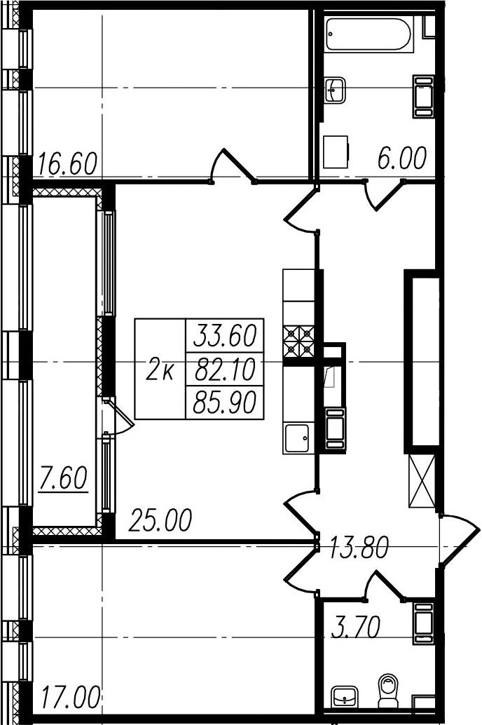 3-к.кв (евро), 89.7 м²