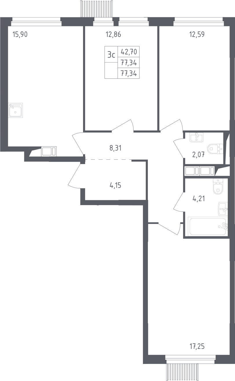 4-к.кв (евро), 77.34 м²