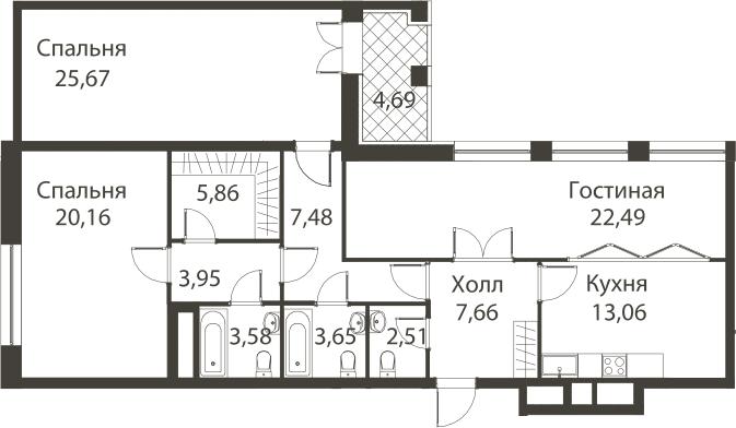 3-к.кв, 122.44 м²