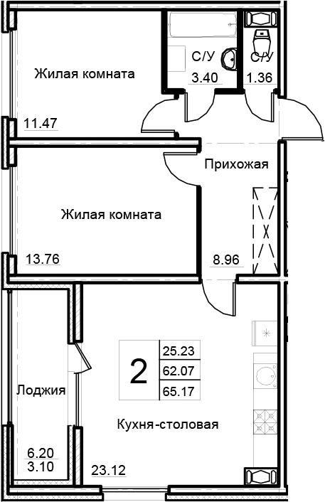 3Е-к.кв, 65.17 м²