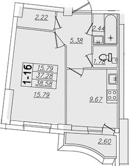 1-комнатная, 38.58 м²– 2