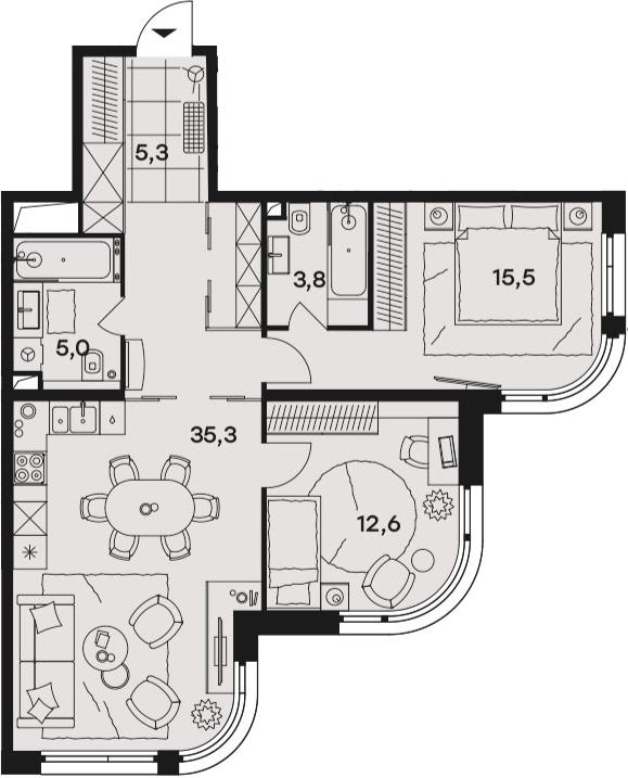 3Е-к.кв, 77.5 м², 10 этаж
