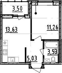 1-комнатная, 33.45 м²– 2