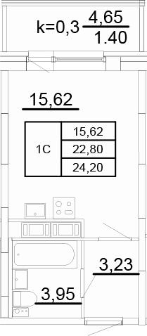 Студия, 23.38 м²