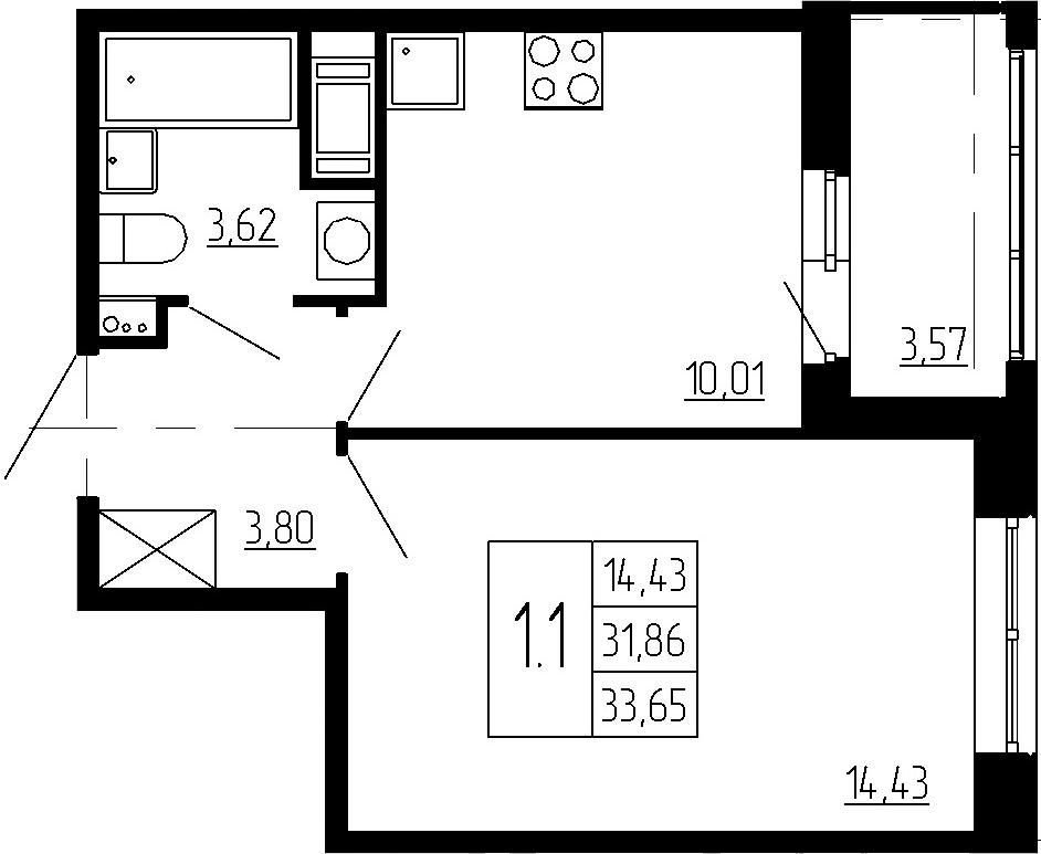 1-к.кв, 31.86 м²