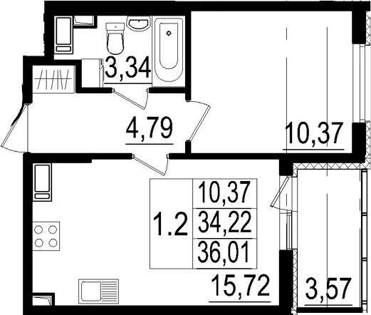 2Е-к.кв, 34.22 м², 2 этаж