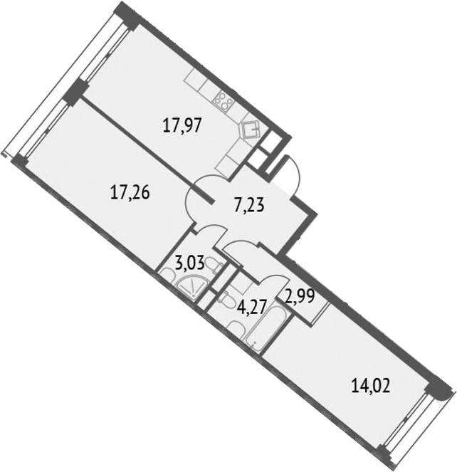 3-к.кв (евро), 66.77 м²