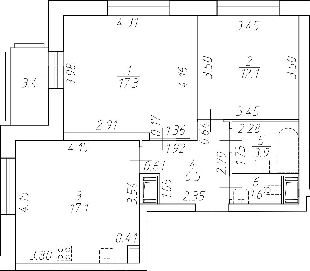 3Е-комнатная, 58.5 м²– 2