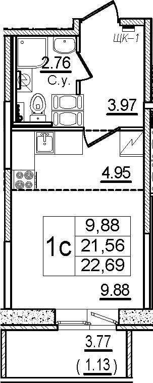 Студия, 22.69 м²– 2