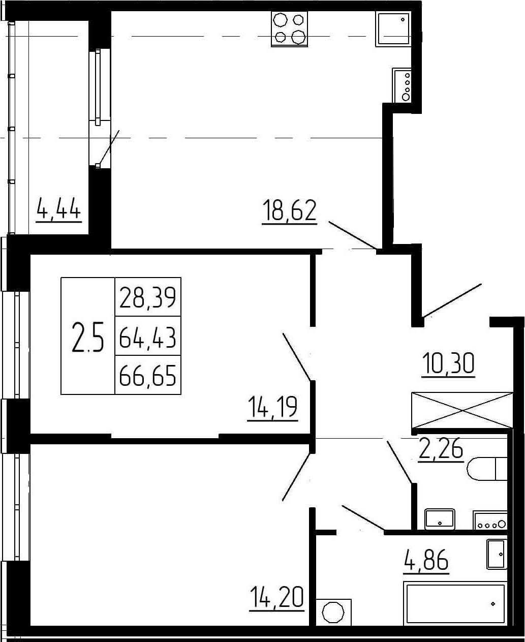 3-к.кв (евро), 68.87 м²