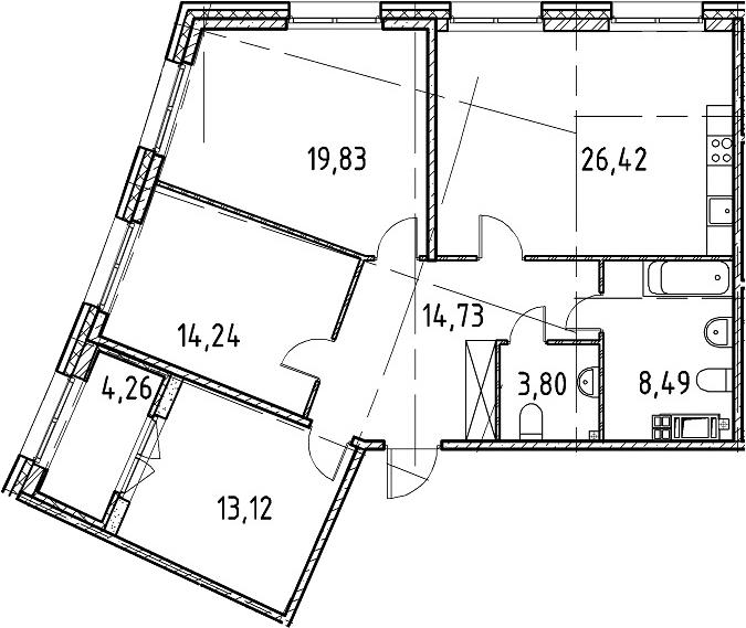 3-к.кв, 100.63 м²