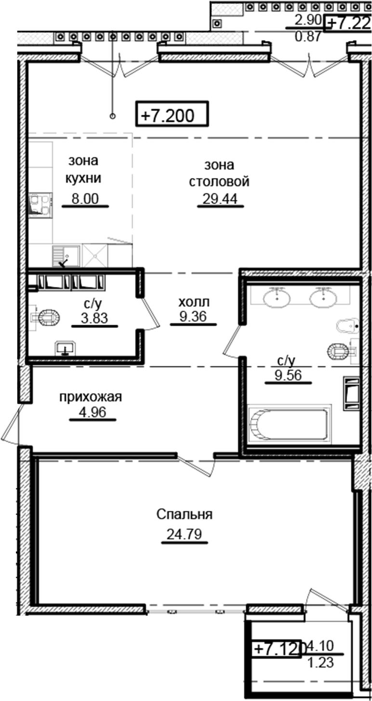 2-к.кв (евро), 96.94 м²