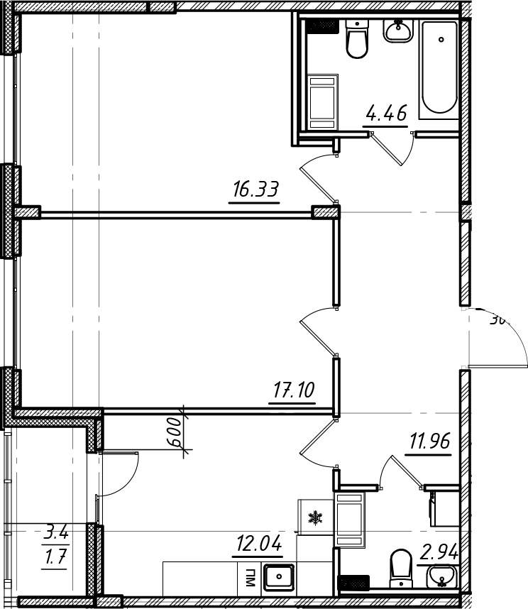 2-комнатная, 66.53 м²– 2