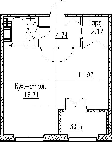 2-к.кв (евро), 42.54 м²