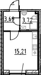 Студия, 22.62 м²