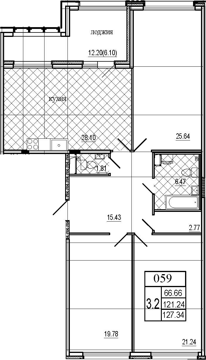 4Е-комнатная, 127.34 м²– 2