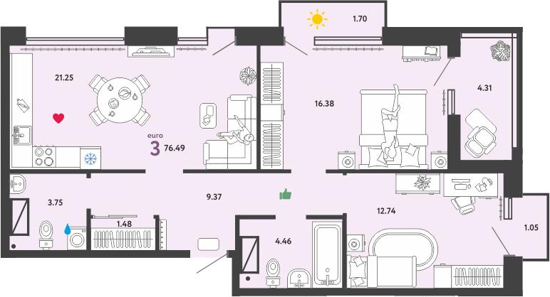 3Е-к.кв, 76.49 м²