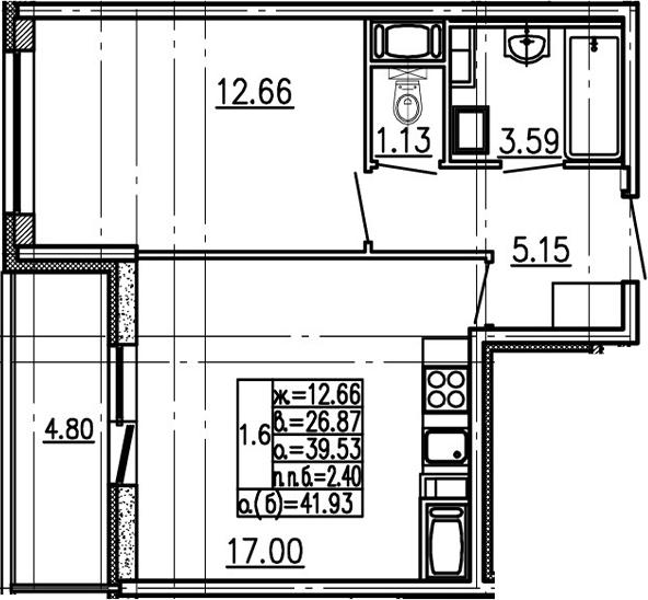 2-к.кв (евро), 44.33 м²