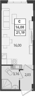 Студия, 21.19 м²