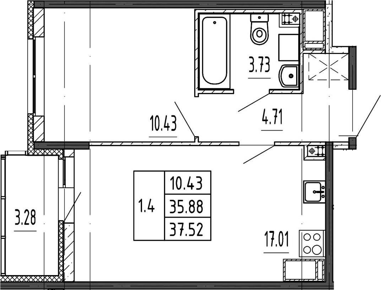 2Е-к.кв, 35.88 м²