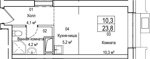 Студия, 23.8 м²– 2